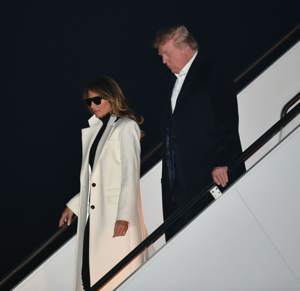 Fashion Notes: Melania Trump is Parisian Chic in Saint Laurent Returning from India